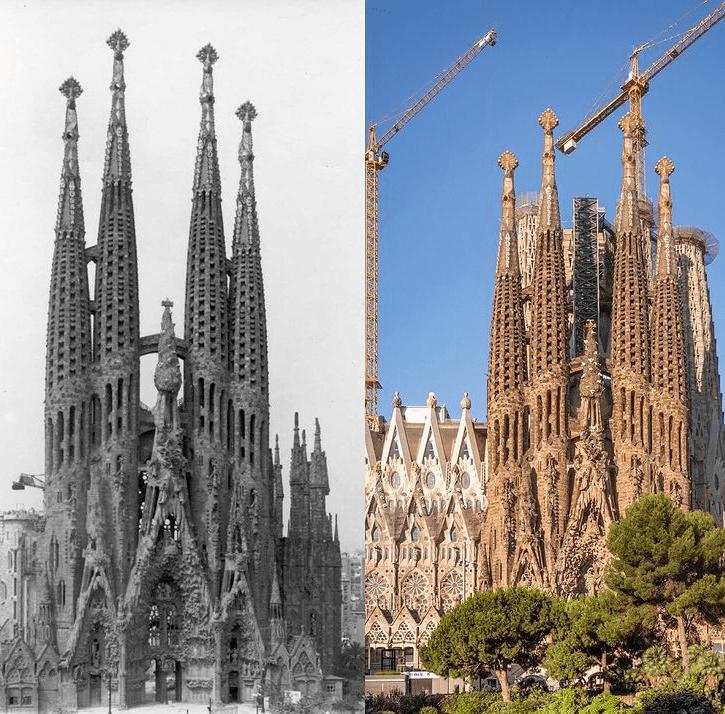 la sagrada familia Kilisesinin eski ve yeni görüntüleri