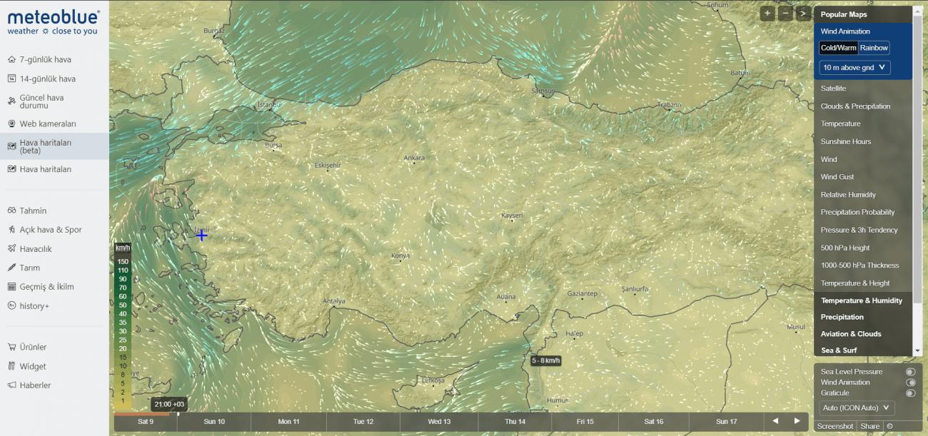 hava sıcaklığı harita analizi
